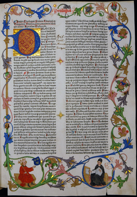 Opening page of the Speculum Historiale from the incunabulum edition Augsburg, the abbey of Ulrich and Afra, ca. 1474